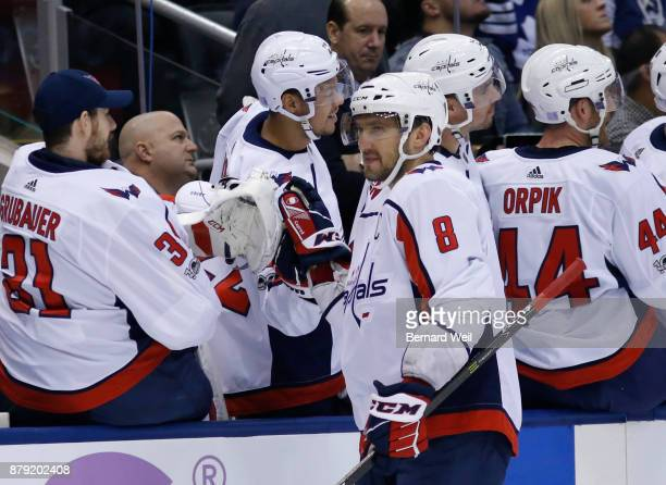 TORONTO ON NOVEMBER 25 Washington Capitals left wing Alex Ovechkin is congratulated after scoring his second goal in the 1st period as the Toronto...