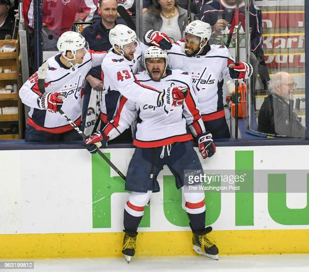 COLUMBUS OH APRIL Washington Capitals left wing Alex Ovechkin is greeted after scoring his second goal of second period against the Columbus Blue...