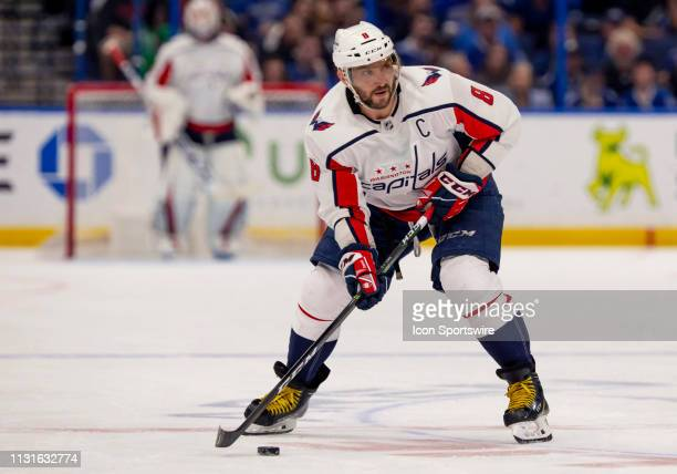 Washington Capitals left wing Alex Ovechkin looks to shoot the puck during the NHL Hockey match between the Lightning and Capitols on March 16 2019...