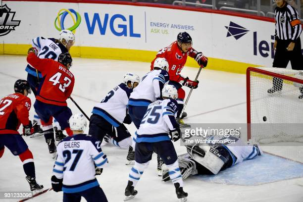 Washington Capitals left wing Alex Ovechkin scores his second goal of the night against the Winnipeg Jets becoming the 20th player in NHL history to...