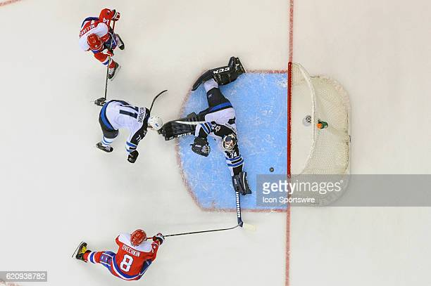 Washington Capitals left wing Alex Ovechkin scores in the second period against Winnipeg Jets goalie Michael Hutchinson on November 3 at the Verizon...