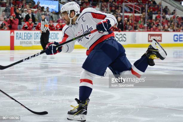 Washington Capitals Left Wing Alex Ovechkin shoots the puck during a game between the Washington Capitals and the Carolina Hurricanes at the PNC...