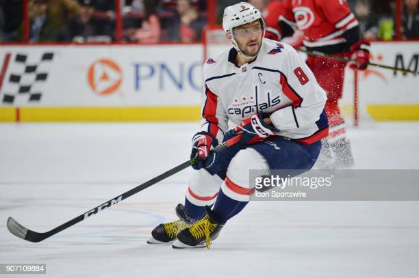 Washington Capitals Left Wing Alex Ovechkin skates after a puck during a game between the Washington Capitals and the Carolina Hurricanes at the PNC...