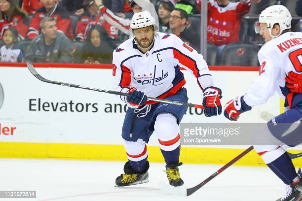 Washington Capitals left wing Alex Ovechkin skates during the second period of the National Hockey League Game between the New Jersey Devils and the...