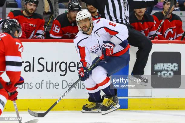 Washington Capitals left wing Alex Ovechkin skates during the third period of the National Hockey League Game between the New Jersey Devils and the...