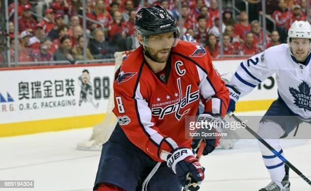 Washington Capitals left wing Alex Ovechkin skates in the third period against Toronto Maple Leafs defenseman Matt Hunwick on April 15 at the Verizon...