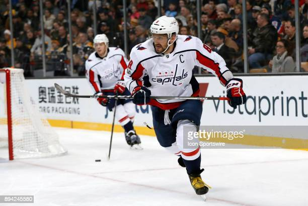 Washington Capitals left wing Alex Ovechkin skates up ice during a game between the Boston Bruins and the Washington Capitals on December 14 at TD...