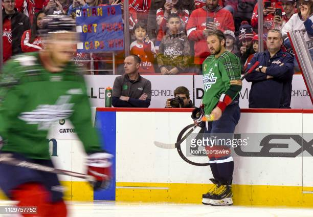 Washington Capitals left wing Alex Ovechkin sprays liquid on the ice prior to the game against the Winnipeg Jets on March 10 at the Capital One Arena...