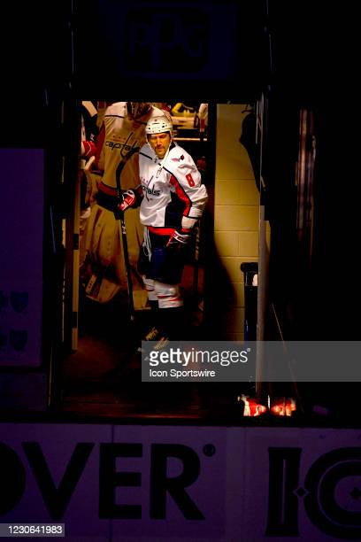 Washington Capitals Left Wing Alex Ovechkin stand in the hallway prior to the first period in the NHL game between the Pittsburgh Penguins and the...