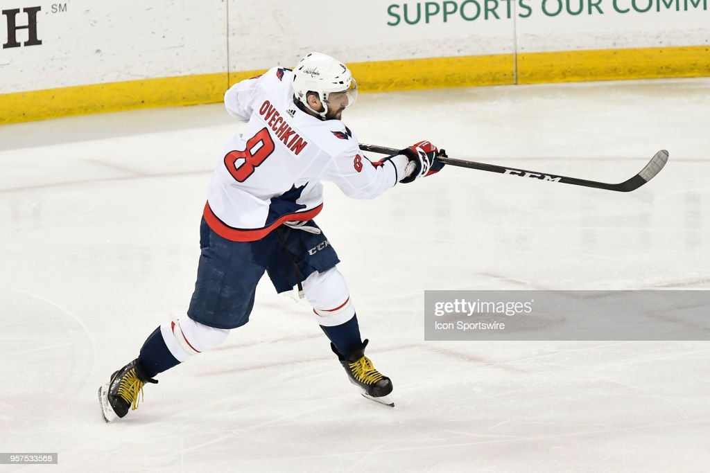 Washington Capitals left wing Alex Ovechkin (8) takes a shot during the third period of the first game of the NHL Stanley Cup Eastern Conference Finals between the Washington Capitals and the Tampa Bay Lightning on May 11, 2018, at Amalie Arena in Tampa, FL. The Capitals defeated the Lightning 4-2.