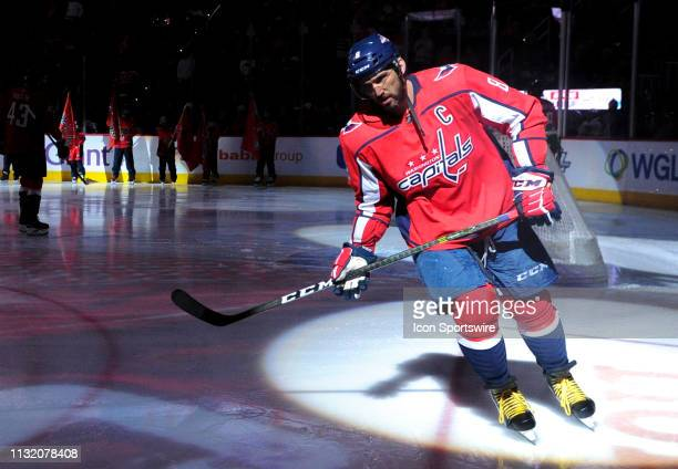 Washington Capitals left wing Alex Ovechkin takes the ice for the game against the Minnesota Wild on March 22 at the Capital One Arena in Washington...