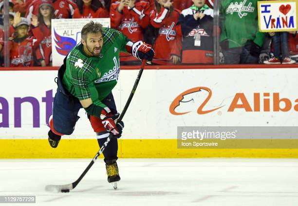 Washington Capitals left wing Alex Ovechkin warms up prior to the game against the Winnipeg Jets on March 10 at the Capital One Arena in Washington DC