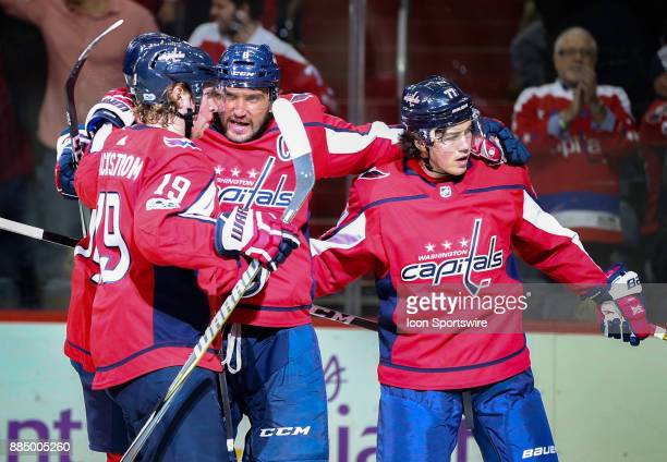 Washington Capitals left wing Alex Ovechkin with center Nicklas Backstrom and right wing TJ Oshie after he had scored the third goal during a NHL...