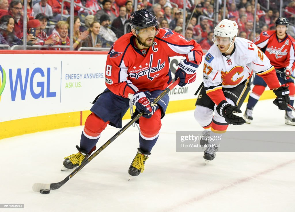 low priced fe815 f32aa Washington Capitals left wing Alex Ovechkin works the puck ...
