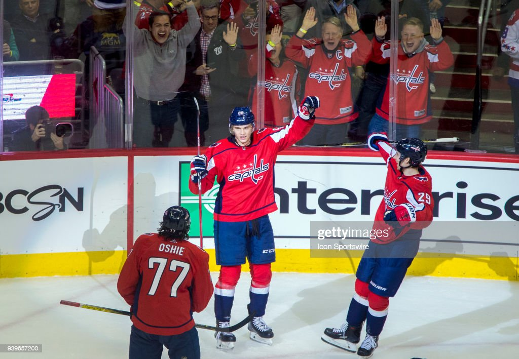 05ac45a95aa Washington Capitals left wing Andre Burakovsky (65) after scoring during a  NHL game between