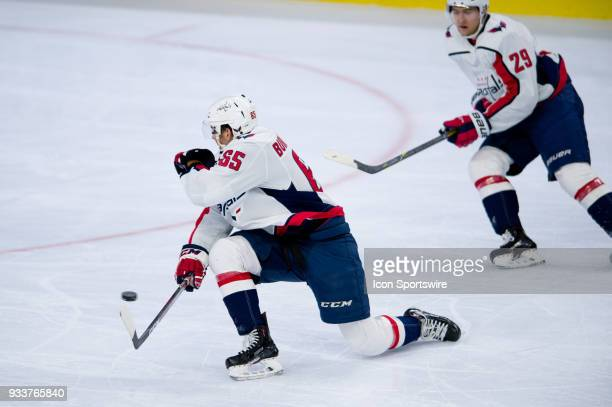 Washington Capitals Left Wing Andre Burakovsky barely misses a block on a shot in the first period during the game between the Washington Capitals...