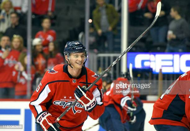 Washington Capitals left wing Andre Burakovsky warms up prior to the game against the Minnesota Wild on March 22 at the Capital One Arena in...