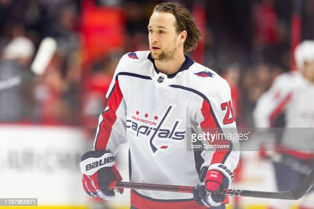 Washington Capitals Left Wing Brendan Leipsic during warmup before National Hockey League action between the Washington Capitals and Ottawa Senators...