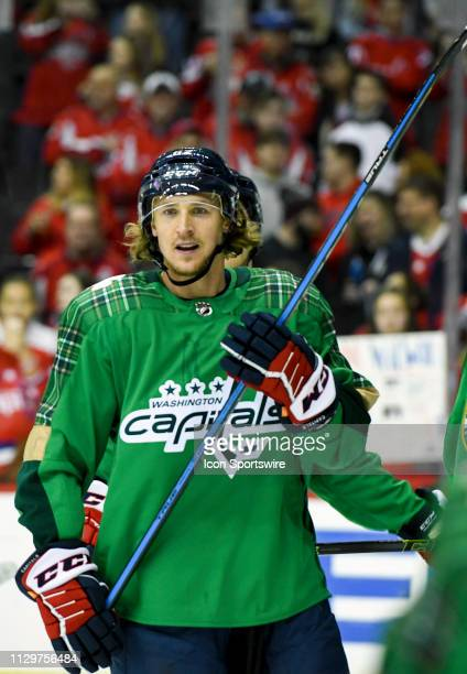 Washington Capitals left wing Carl Hagelin warms up prior to the game against the Winnipeg Jets on March 10 at the Capital One Arena in Washington DC