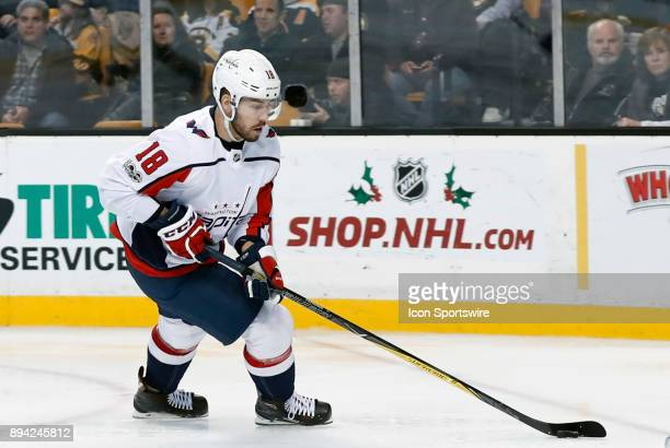 Washington Capitals left wing Chandler Stephenson cycles with the puck during a game between the Boston Bruins and the Washington Capitals on...