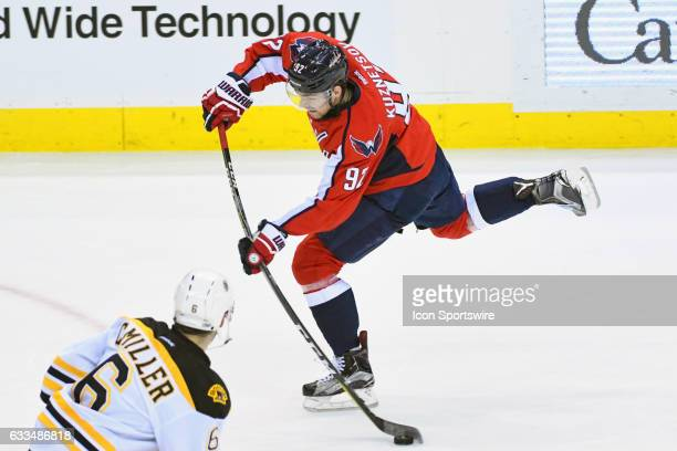 Washington Capitals left wing Marcus Johansson fires a third period shot on goal against Boston Bruins defenseman Colin Miller on February 1 at the...