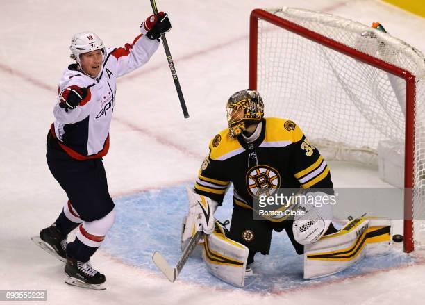 Washington Capitals' Nicklas Backstrom celebrates his second period goal that got past Bruins goalie Anton Khudobin to put the Capitals up 21 The...