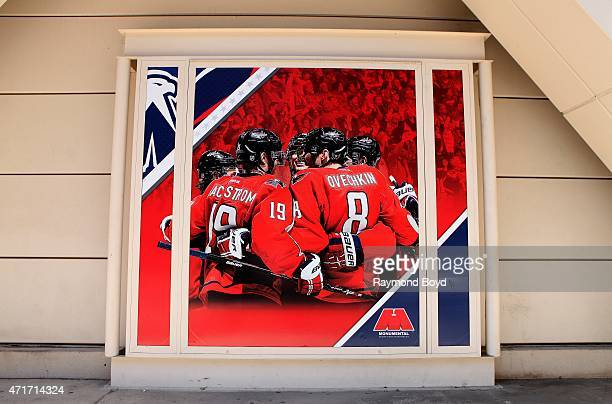Washington Capitals painting sits outside the Verizon Center home of the Washington Wizards basketball team Washington Capitals hockey team and...