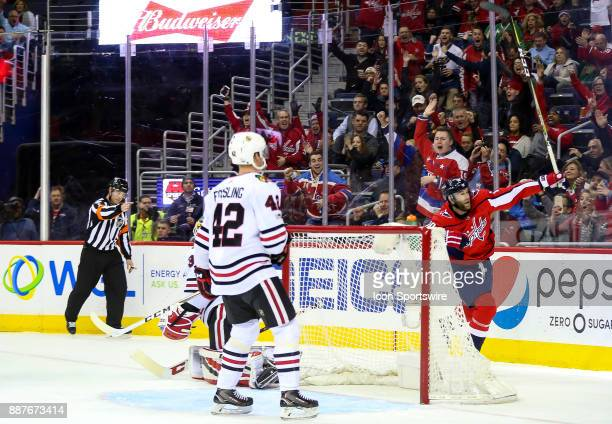 Washington Capitals right wing Brett Connolly celebrates after scoring during a NHL game between the Washington Capitals and the Chicago Blackhawks...