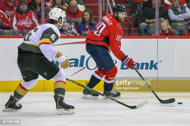 Washington Capitals right wing Brett Connolly in action against Vegas Golden Knights defenseman Colin Miller on February 4 at the Capital One Arena...