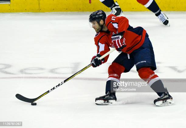 Washington Capitals right wing Brett Connolly takes a shot in the third period against the Winnipeg Jets on March 10 at the Capital One Arena in...