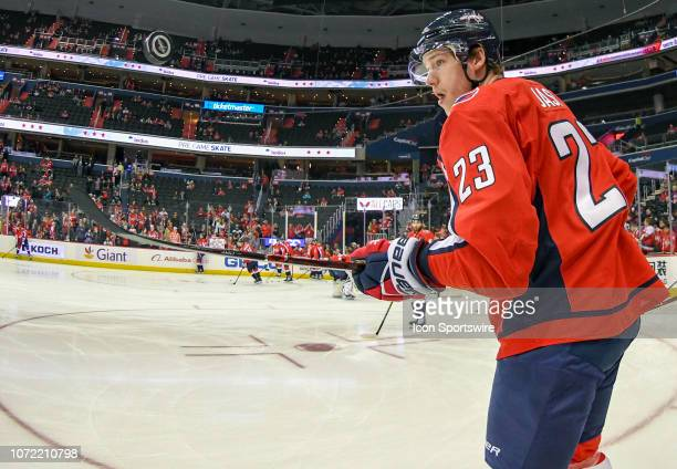 Washington Capitals right wing Dmitrij Jaskin bounces a puck on his stick prior to the game against the Detroit Red Wings on December 11 at the...