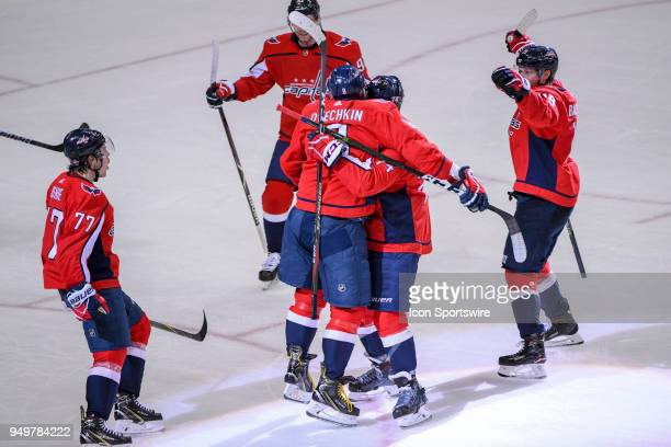 Washington Capitals right wing TJ Oshie celebrates his second period power play goal with the team against the Columbus Blue Jackets on April 21 at...