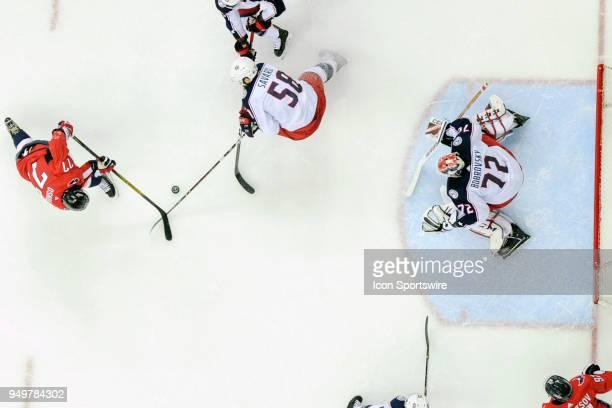 Washington Capitals right wing TJ Oshie has his second period shot against Columbus Blue Jackets goaltender Sergei Bobrovsky blocked by defenseman...