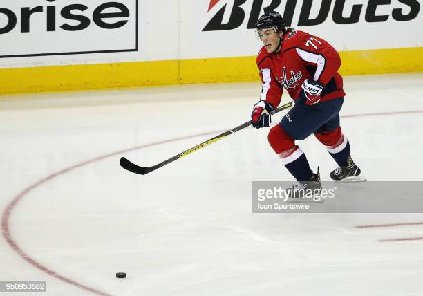 Washington Capitals right wing TJ Oshie in action during a match between the Washington Capitals and the Columbus Blue Jackets on April 12 at the...