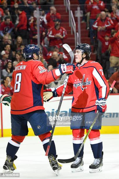 Washington Capitals right wing TJ Oshie is congratulated by left wing Alex Ovechkin after his first period goal against the Minnesota Wild on...