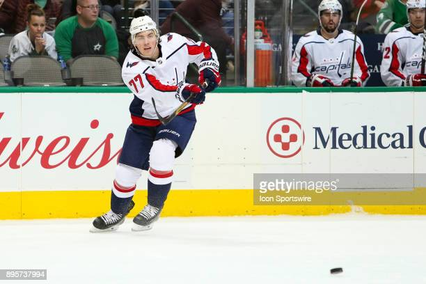 Washington Capitals right wing TJ Oshie makes a pass during the hockey game between the Washington Capitals and Dallas Stars on December 19 2017 at...
