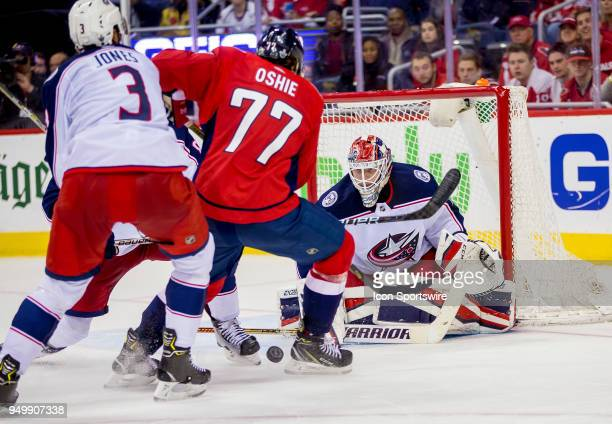 Washington Capitals right wing TJ Oshie moves in on Columbus Blue Jackets goaltender Sergei Bobrovsky during the first round Stanley Cup playoff game...
