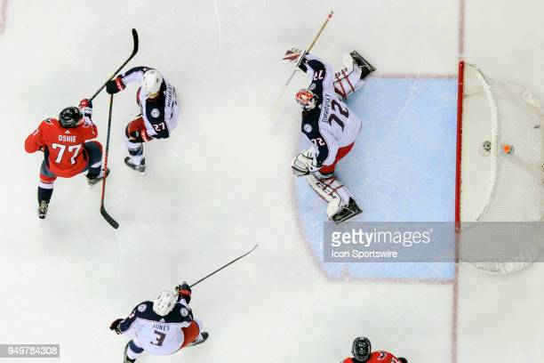 Washington Capitals right wing TJ Oshie scores a second period goal against Columbus Blue Jackets goaltender Sergei Bobrovsky on April 21 at the...