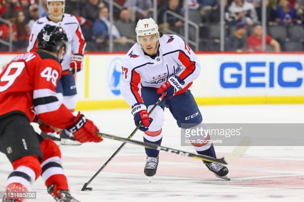 Washington Capitals right wing T.J. Oshie skates during the third period of the National Hockey League Game between the New Jersey Devils and the...