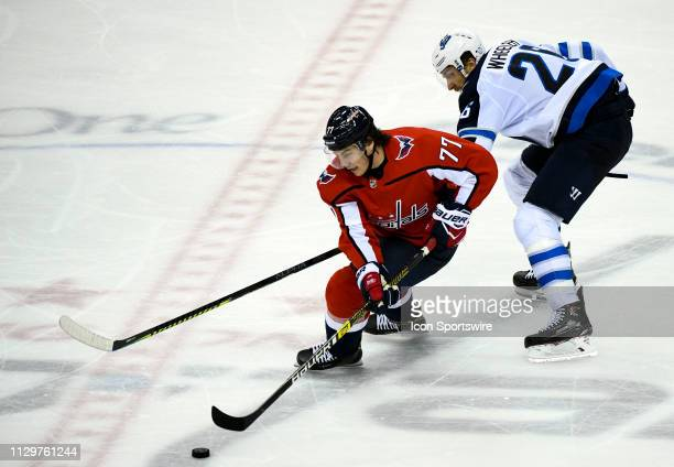 Washington Capitals right wing TJ Oshie skates in the third period against Winnipeg Jets right wing Blake Wheeler on March 10 at the Capital One...