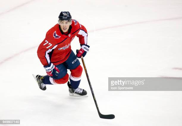 Washington Capitals right wing TJ Oshie starts a play during the first round Stanley Cup playoff game 5 between the Washington Capitals and the...