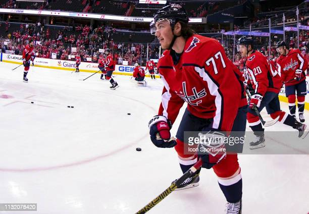 Washington Capitals right wing TJ Oshie warms up for the game against the Minnesota Wild on March 22 at the Capital One Arena in Washington DC