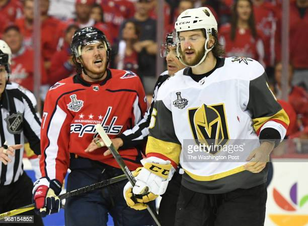 Washington Capitals right wing TJ Oshie yells at Vegas Golden Knights defenseman Colin Miller after rough play in the third period during game four...