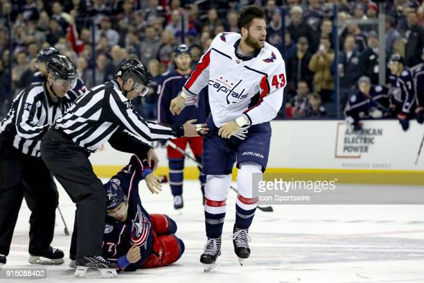 Washington Capitals right wing Tom Wilson skates off after a fight with Columbus Blue Jackets right wing Josh Anderson in the first period of a game...