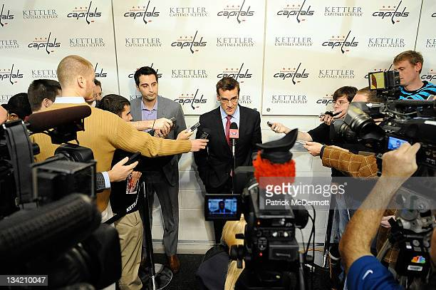 Washington Capitals Vice President and General Manager George McPhee speaks to members of the media at Kettler Iceplex on November 28 2011 in...