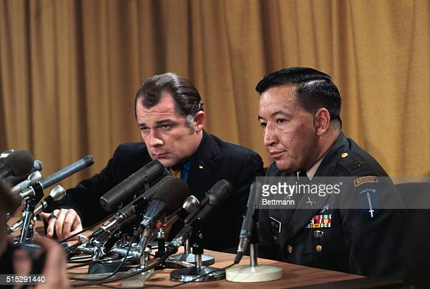 Capt Ernest L Medina commander of the infantry company involved in the alleged Song My massacre and his attorney F Lee Bailey hold a press conference...