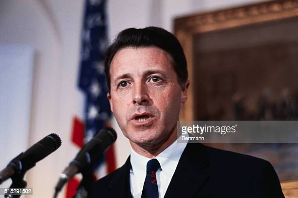 Caspar W Weinberger nominated by President Nixon to be a member of the Federal Trade Commission for a sevenyear term is shown here