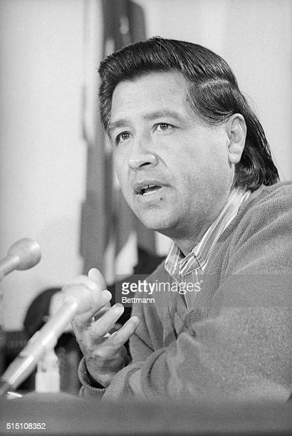 Cesar Chavez head of the United Farm Workers Union flew into Washington and held a news conference to announce he is seeking congressional help in...