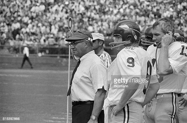 Washington Coach Vince Lombardi and his quarterback Sonny Jurgenesen on sidelines during the game against New Orleans September 21 1969