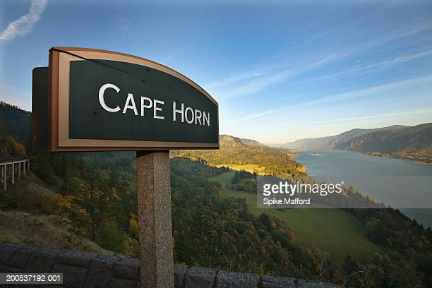 USA, Washington, Columbia River and 'Cape Horn' sign at dusk